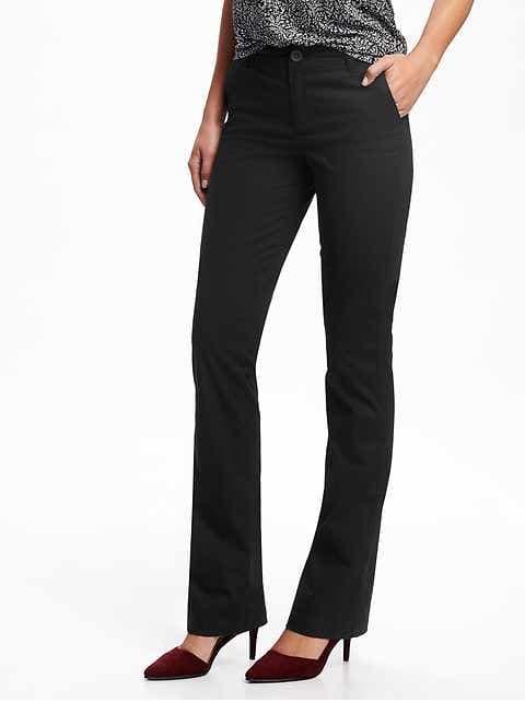 Mid-Rise Boot-Cut Khakis for Women - Blackjack