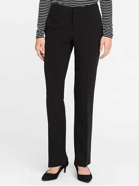 Mid-Rise Harper Full-Length Pants for Women - Black