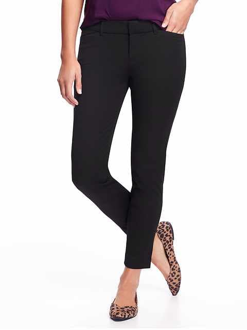 Mid-Rise Pixie Ankle Pants for Women - Black