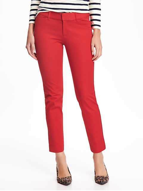 Mid-Rise Pixie Ankle Pants for Women - Robbie Red