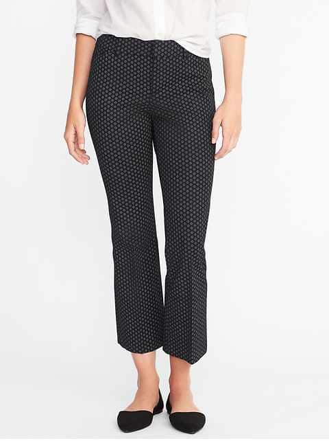 Mid-Rise Pixie Flare Ankle Pants for Women - Black Dots