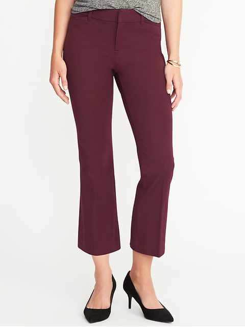 Mid-Rise Pixie Flare Ankle Pants for Women - Claret Red
