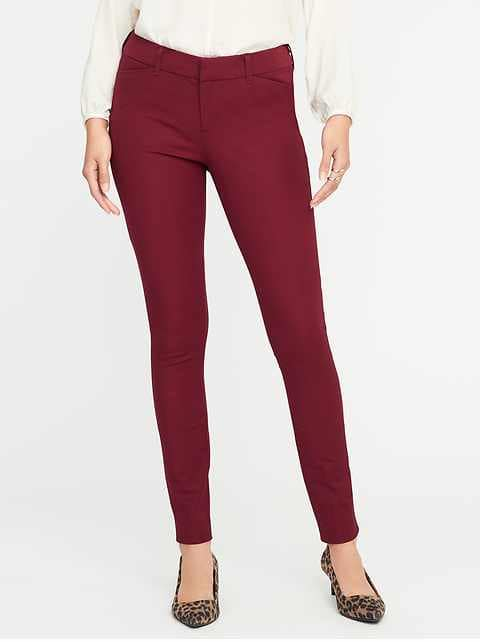 Mid-Rise Pixie Full-Length Pants for Women - Gosh Garnet