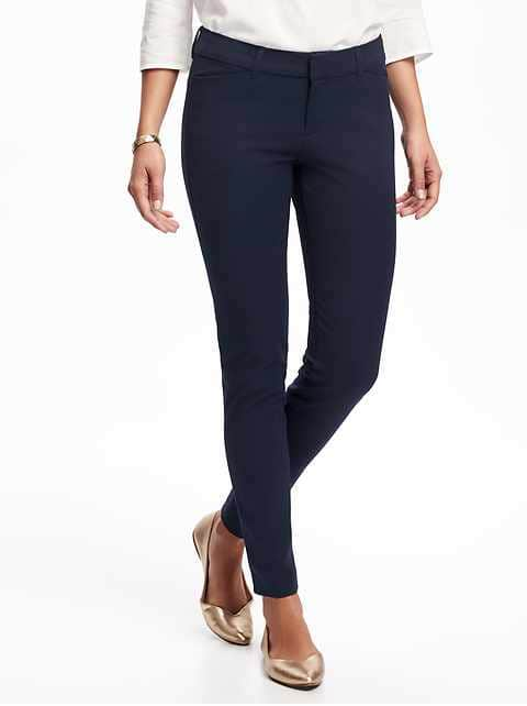 Mid-Rise Pixie Full-Length Pants for Women - In the Navy