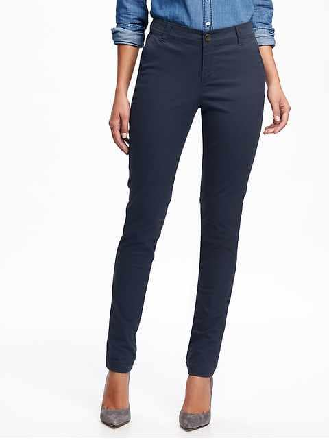 Mid-Rise Skinny Everyday Khakis for Women - Classic Navy