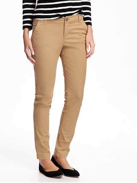 Mid-Rise Skinny Everyday Khakis for Women - Crumb On Down