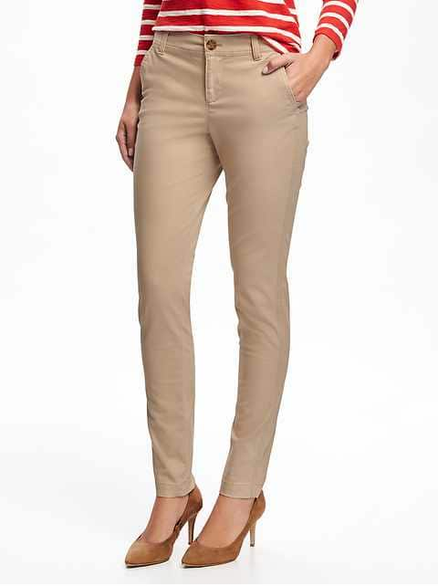 Mid-Rise Skinny Everyday Khakis for Women - Rolled Oats