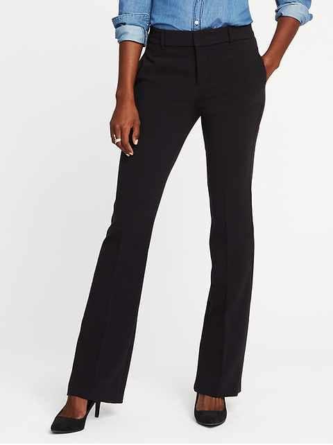 Mid-Rise Slim Flare Harper Full-Length Pants for Women - Black