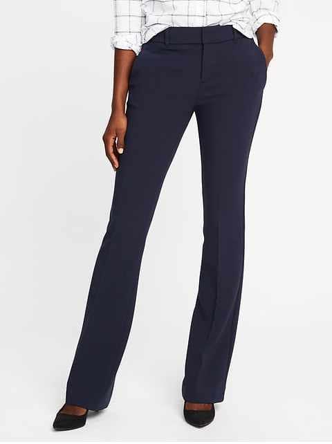 Mid-Rise Slim Flare Harper Full-Length Pants for Women - In the Navy