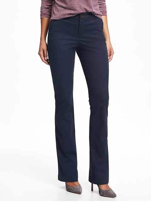 Mid-Rise Boot-Cut Khakis for Women - Classic Navy