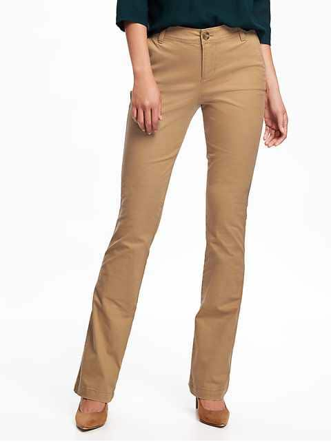 Mid-Rise Boot-Cut Khakis for Women - Crumb On Down