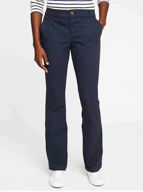 Mid-Rise Boot-Cut Khakis for Women - Navy Blue