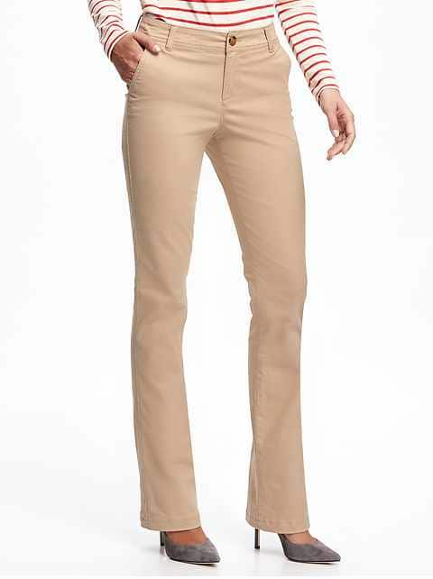 Mid-Rise Boot-Cut Khakis for Women - Rolled Oats